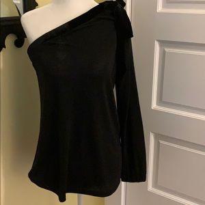 NWT Black Velvet Tie One Shoulder LS Top Size S